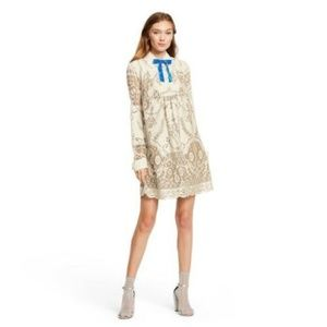 Anna Sui Target Ivory Lace LS Shift Mini Dress XL